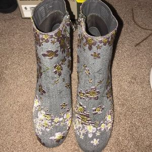 NEVER USED floral denim booties!!!
